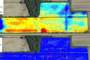 Analyse spatiale : relevé topographique (en haut) et écoulement des eaux (en bas)